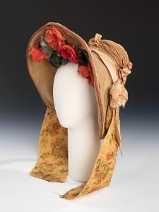 Bonnet de casamento, usado em 1837.