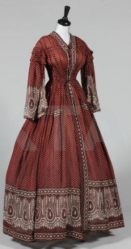 Vestido estilo 'wrapper' de 1850.