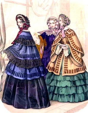 Em 1853, os bonnets diminuíram a aba, que começou a ser enfeitada por dentro e por fora.