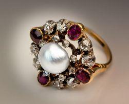 Anel de pérolas, rubis e diamantes, 1880.