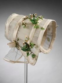 Um poke bonnet de casamento de 1845.