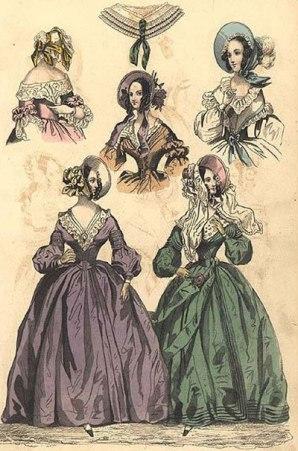 Estilos de bonnets usados em 1839.