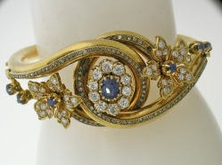 Bracelete com safiras e diamantes, 1890.