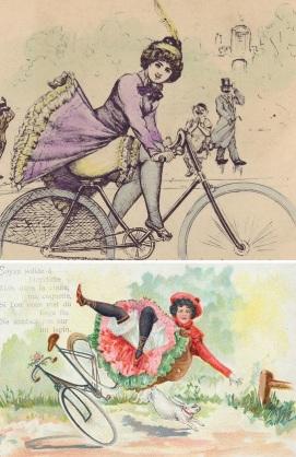 Com o típico bom-humor vitoriano, charges eram produzidas sobre mulheres com bicicletas.