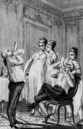 Uma gravura de 1754 mostra sedutores italianos assoprando preservativos.