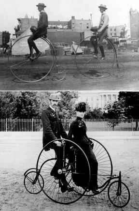 Década de 1880: Bicicletas com uma roda larga e outra pequena, podendo ter até dois lugares.
