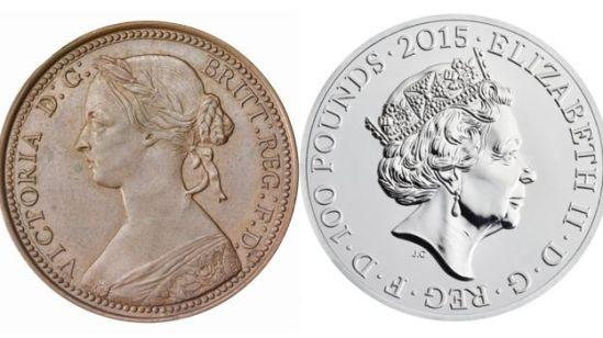 Durante o reinado de Vitória, cerca de 2,5 bilhões de moedas foram produzidas pela Casa da Moeda Real, enquanto até o momento foram 68 bilhões de moedas. Quando Vitória assumiu o trono em 1837 a população da Inglaterra, Escócia e País de Gales somava 16 milhões. Quando ela morreu em 1901, haviam 32,5 milhões de pessoas na Inglaterra e no País de Gales. Quando Elizabeth assumiu o trono em 1952, o Reino Unido tinha 50 milhões; em 2012, no seu jubileu de diamante, haviam 63 milhões de pessoas.