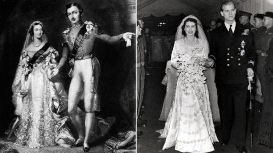 Vitória casou-se com o príncipe Albert em 10 de Fevereiro de 1840 com 21 anos. Eles ficaram casados por 20 anos, antes da morte dele em dezembro de 1861. Elizabeth se casou com Duque de Edimburgo, em 20 de novembro de 1947, também com 21 anos. Eles estão casados há quase 68 anos.