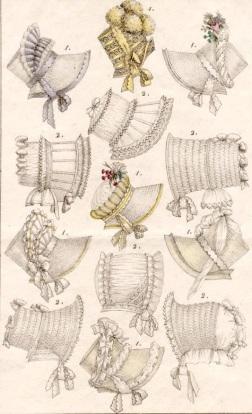 Desenho mostrando os principais estilos de poke bonnets.