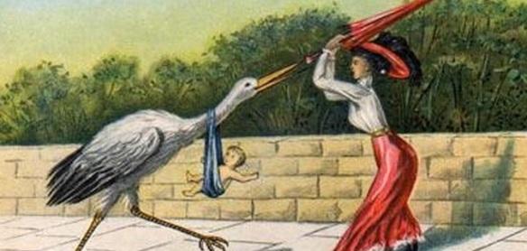 """Mulher vitoriana lutando contra uma cegonha. Na legenda, é possível ler: """"O vilão ainda a persegue""""."""