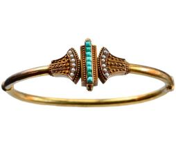 Bracelete de turquesa e pérolas inspirado no estilo etrusco.