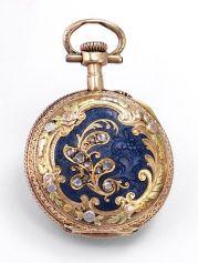 Relógio-pingente com enfeites de diamante, 1890.