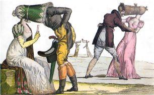 Sátira francesa de 1810 representando os poke bonnets.