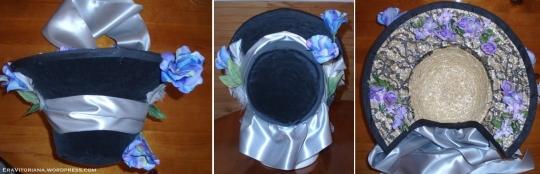 Por último mas não menos importante é a fita. Coloque-a em volta do chapéu como na imagem, deixando uma seção para proteger a nuca. A última imagem mostra o lado de dentro.