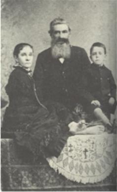 Ann E. Leak com seu marido e filho, 1884.