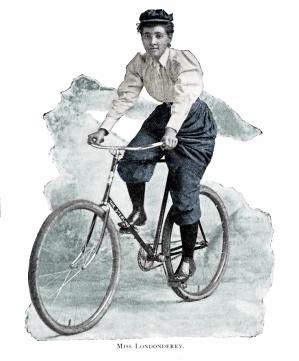 Annie Londonderry, usando roupas de equitação masculinas.