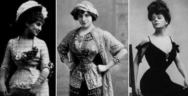 Atrizes famosas da época exibiam suas cinturas minúsculas.