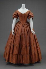 Vestido de jantar americano de 1840.