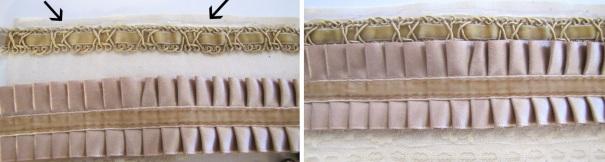 Hora de colar as rendas. As setas estão mostrando que não se deve colar os seus ornamentos na beira do tecido de algodão. Deixe algum espaço.