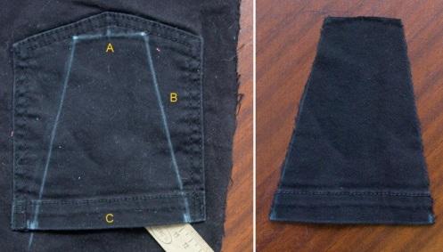 Recorte uma base de tecido (nesse caso, foi usado o bolso de uma calça jeans). Os tamanhos usados foram: A 4 centímetros, B 11 centímetros e C 9 centímetros.