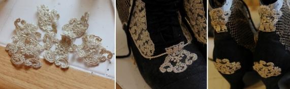 Adicione pequenas rendas douradas na frente e atrás do sapato, como na imagem.