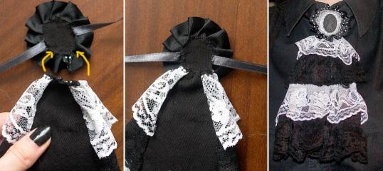 Costure a base do camafeu na ponta do jabô. São as fitas do camafeu que você prenderá no pescoço. E ficou pronto!