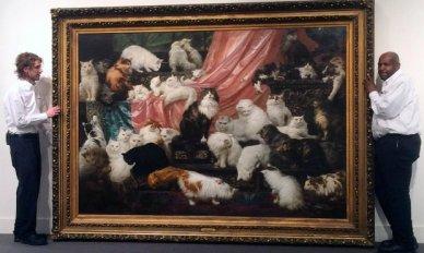 A pintura é tão grande e pesada que a Sotheby teve que fazer uma parede especial para pendurá-la.