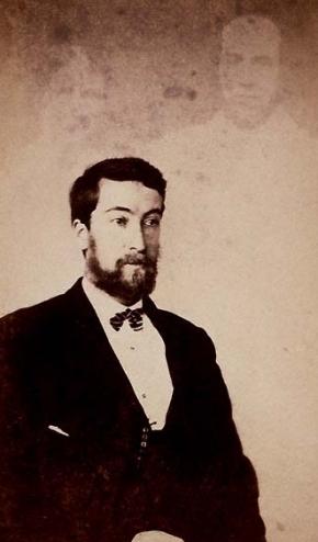 Homem não identificado com dois espíritos. Por volta de 1870.