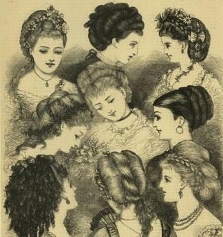 Penteados da década de 1870.