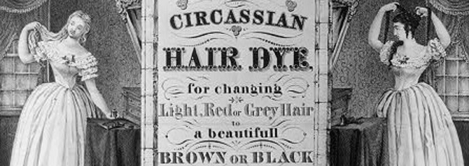 Na propaganda: Pintura de cabelo circassiana. Mude de vermelho claro ou cabelo cinzapara um lindo marrom ou preto.