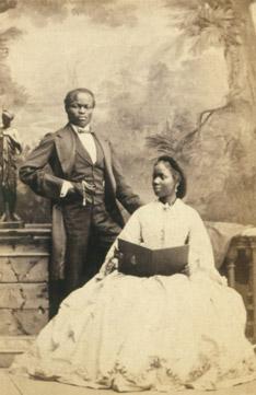 James Pinson Labulo Davies e Sarah Forbes Bonetta, fotografada em Londres em 1862.