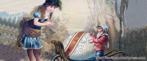 Cartão de 1880 mostra um gnomo entregando um ovo de Páscoa a uma menina.