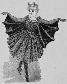 Ilustração de uma fantasia de morcego de 1882.