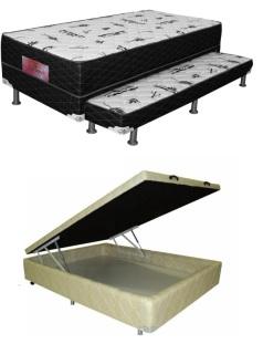 Cama box com colchão conjugado e aberta para mostrar o baú.
