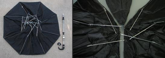 Quebre o centro do seu guarda chuva. As pontas do centro ficarão todas desencontradas, como na foto.