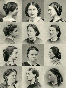 Penteados da década de 1860.